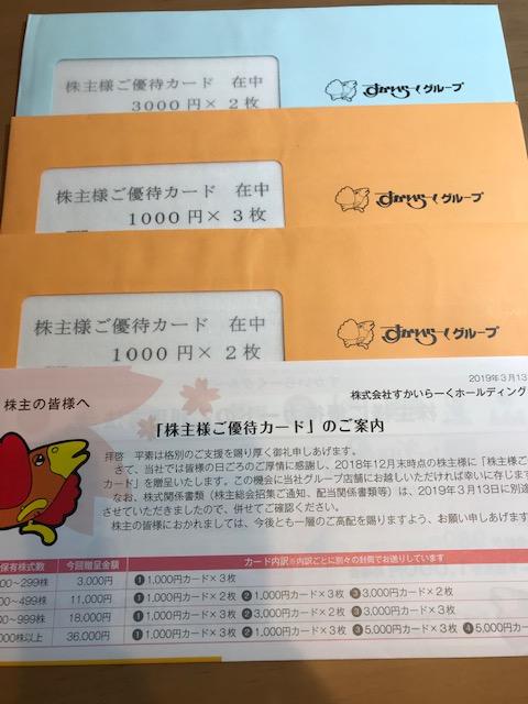 すかいらーく優待券190316-1